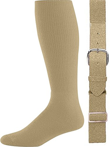 Joe's USA - Baseball Socks & Belt Combo Set Colors Available (Vegas Gold, Youth (7-9)) ()