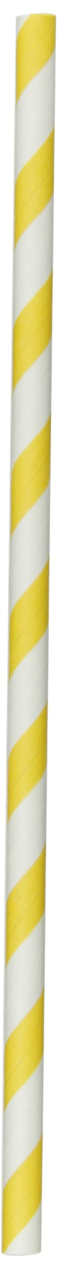 Aardvark 61520041 Paper Drinking Straw, 7/32'' Diameter x 7-3/4'' Length, Bright Yellow Stripe (8 Boxes of 600) by Aardvark Straws