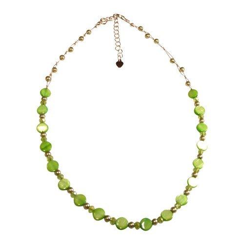 78cf677a9d62 Chic-Net collar perlas de cristal madre de discos perla Ladies Glitter verde  joyería libre de níquel 42 - 48 cm  Amazon.es  Joyería