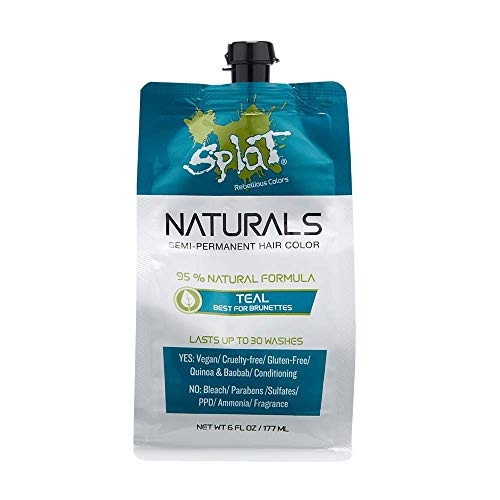 Splat Naturals, Semi-Permanent Teal Hair Dye : 100% Vegan, Cruelty-Free, No Bleach Required, Free of Ammonia, PPD, Parabens & Sulfates - 6 Oz