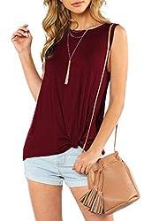 Zjct Womens Tank Tops Summer Sleeveless Shirts Casual Twist Knot Basic T Shirts Blouses Wine Xl