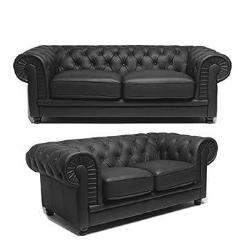 prima sofas Chesterfield 2 Seater Black Leather Sofa: Amazon ...