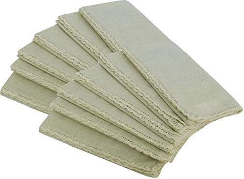 Flax with 1 Fold Selvage Linen Clubs Flax Cotton Designer Dinner Napkins 18X18 Set of 12 20/% Linen,80/% Cotton Natural Fiber Natural - Premium Linen Look