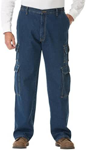 Liberty Blues Men's Big & Tall Side-Elastic Loose Fit Denim Cargos