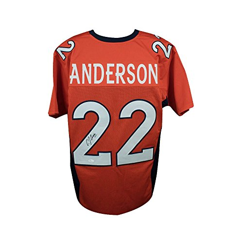 C.J. Anderson Autographed Denver Broncos Custom Orange Football Jersey - JSA COA
