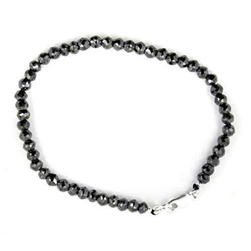 Barishh 4mm Black Diamond Bracelet With Silver Clasp 30 Cts.Very Elegant.Certified by Barishh