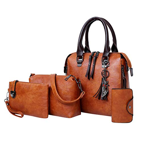 4 Pcs Bags,AgrinTol Women Pattern Solid Handbag+Crossbody Bag+Messenger Bag+Card Package (Brown) ()