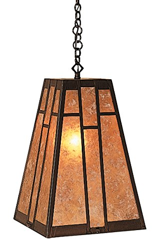 Arroyo Craftsman AH-1EGW-MB A-line Shade Pendant without Overlay, Mission Brown Metal Finish, Gold White Iridescent (Arroyo Craftsman White Pendant)