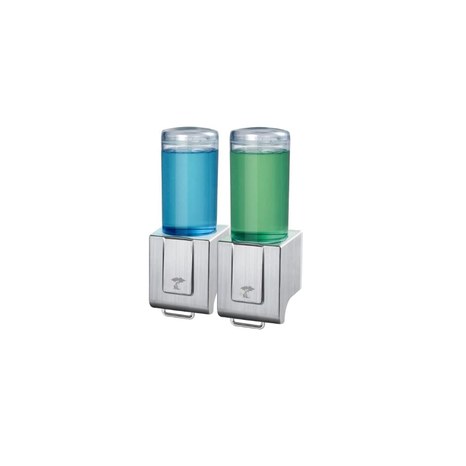 Deluxe Shampoo and Soap Dispensers by ToiletTree Products. Backed with a 5 year replacement warranty. (Brushed Aluminum, Double)