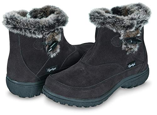 ather Cold Resistant Insole Fur Lined Zipper Ankle Boots W/Memory Foam (6, Black-202) ()