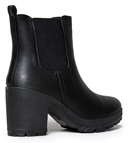 Womens Vegan Leather Chelsea Boot Lightweight Pull on Casual Ankle Bootie Ankle Bootie