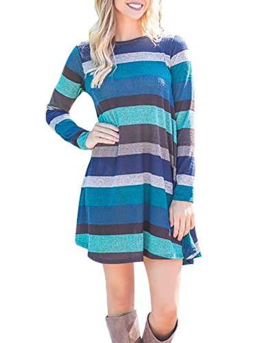 FANSIC Comfy Swing Tunic Long Sleeve Pocket T-Shirt Dress XX-Large Coffee and (Sweater Dresses Boots)