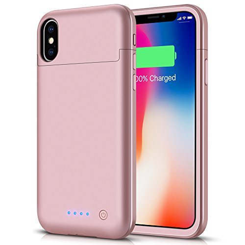 iPhone X/Xs Battery Case, LCLEBM 5200mAh Rechargeable Portable Power Charging Case for iPhone X/Xs/10 (5.8 inch) Extended Battery Pack Protective Charger Case Power Bank (Rosegold)
