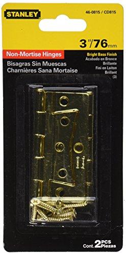 Stanley Hardware S460-815 CD815 Non-Mortise Hinge in Bright Brass, 2 pack