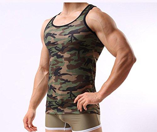 Gilet Manches Sport Sans De Homme Militaire Shirt Elonglin Corps Débardeur Top Maillot Slim Camouflage Camo XqwEvzA