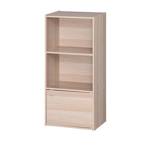 IRIS 3 Tier Wood Storage Shelf with Door, Light Brown (Wood Shelving Units With Doors)