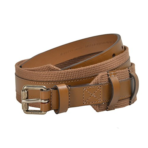 Gucci Men's Brown Canvas Leather Belt US 42 IT - Gucci Canvas Belt