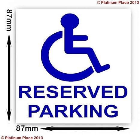 Reservado el aparcamiento para discapacitados discapacidad - ruedas movilidad - señal adhesiva: Amazon.es: Hogar