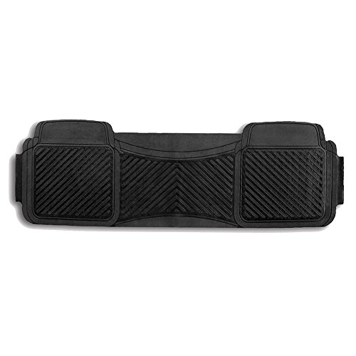 Clearance Sale:FH GROUP FH-F11302 All Weather PVC Rubber Trimmable Rear Floor Mat, Black Color (Black Piece Rear 1 Floor)
