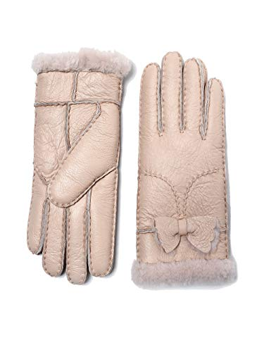 - YISEVEN Women's Rugged Shearling Sheepskin Leather Gloves Cute Bow Mittens Sherpa Fur Cuff Thick Wool Lined and Heated Warm for Winter Cold Weather Dress Driving Work Xmas Gifts, Pearl Pink Large