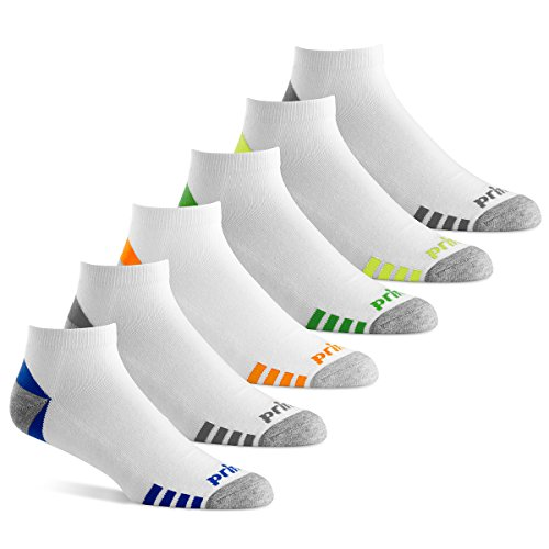 Best tennis socks - Prince Men's Low Cut Performance Socks for Running, Tennis, and Casual Use (Pack of 6) - White, 6-12