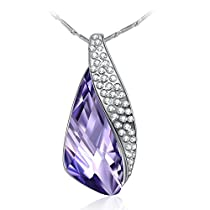 Fairy Season Christmas Jewelry Gifts Packing Leaf Shaped Pendant Necklace Violet Crystal from Swarovski