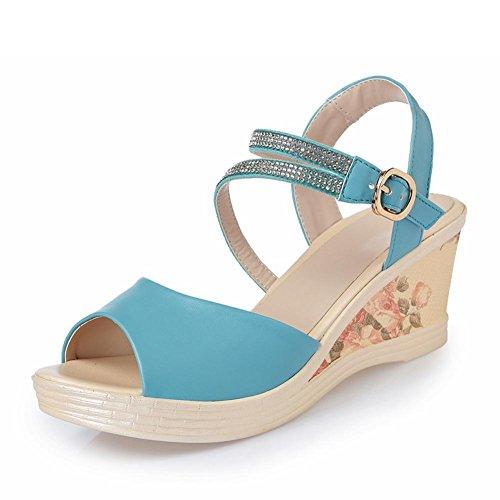 Parteischuhe L@YC WomenS Slope Mit Sandalen Leder Mit Dicken Bottomed Wasserdichte Plattform Mit High Heeled Schuhe Fisch Mund , blue , 37