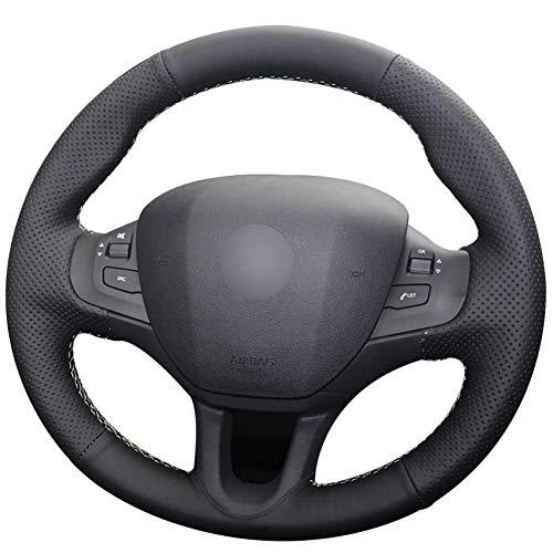 MWPO Black leather car wheel steering wheel Peugeot 208 Peugeot 2008: