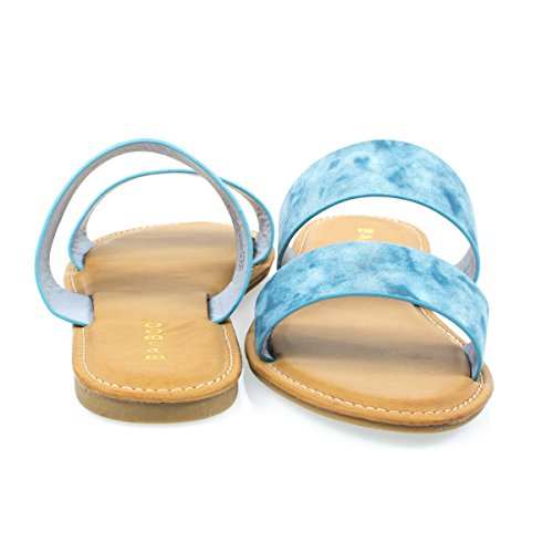 Womens Flat Strappy Sandal w Double Strap & Adjustable Ankle Strap Bluedenim esLtn