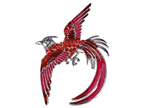 Alilang Red Rhinestone Crystal Enamel Flame Phoenix Fire Bird Resurrection Survivor Brooch Pin