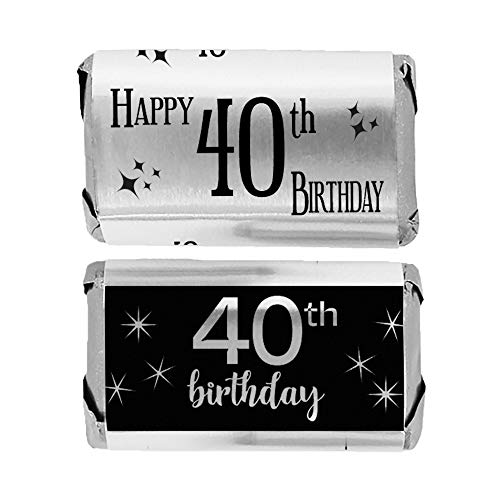 (Black and Silver 40th Birthday Mini Candy Bar Wrappers | Shiny Foil | 45 Count)