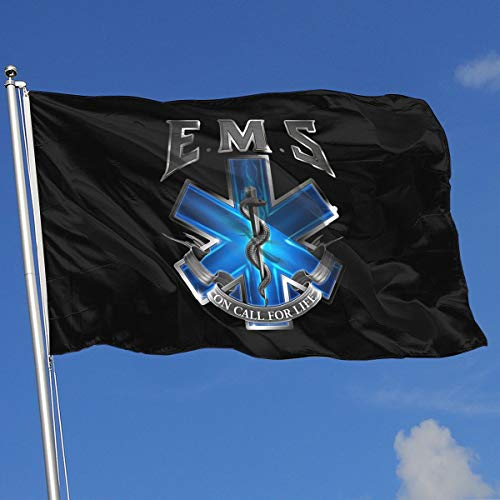 American Flag EMS Star of Life EMT Paramedic Medic 3x5 Foot Flag Outdoor Flags 100% Single-Layer Translucent Polyester 3x5 Ft