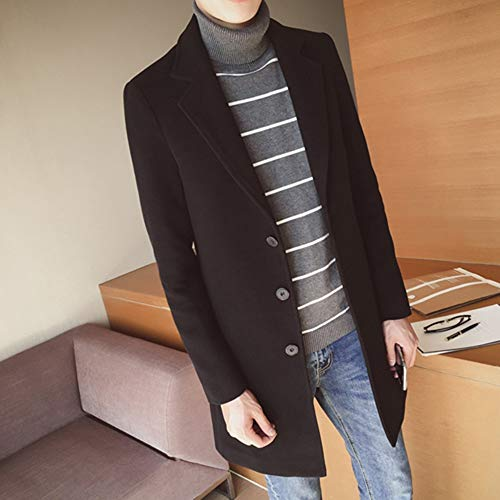 Middle Cappotto Color Winter Jackets Men's Fit Size Long Slim Male Shkac Overcoat Uomo Coat Autumn Solid Coats Plus Black 4R5AjL3qcS