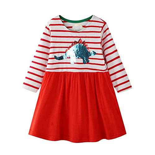 Little Girl Color Change Sequin Animal Chameleon Stripe Red Stripe Long Sleeve Christmas Cotton Casual -