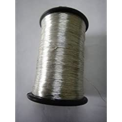 SILVER - Spool of Shiny Metallic Thread Yarn - For Crochet Sewing Embroidery Handwork Artwork Jewelry