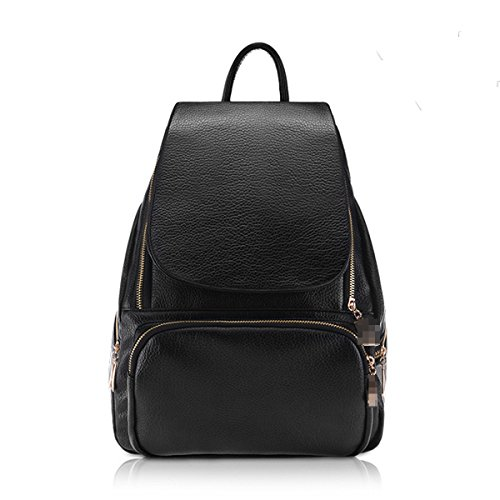 Moda Casual PU Mochila De Cuero Laptop College Daypack Bolso Para Las Mujeres Chica Black1
