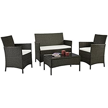 Amazon.com : Patio Furniture Set Clearance Rattan Wicker Dining ...