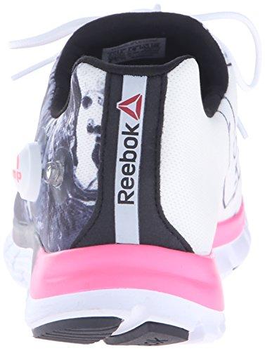 Reebok Womens Zpump Fusion Splash Scarpa Da Corsa Nero / Bianco / Rosa Solare