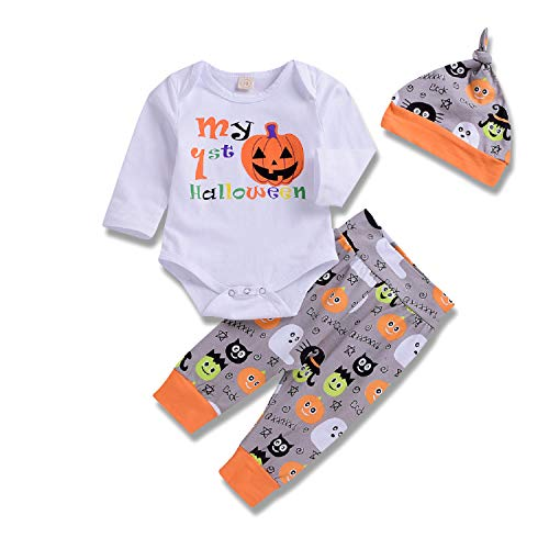 Baby Boy Halloween Outfit Pumpkin Bodysuit My First Halloween Romper with Ghost Pants Clothes (White1, 70/0-6 Months)