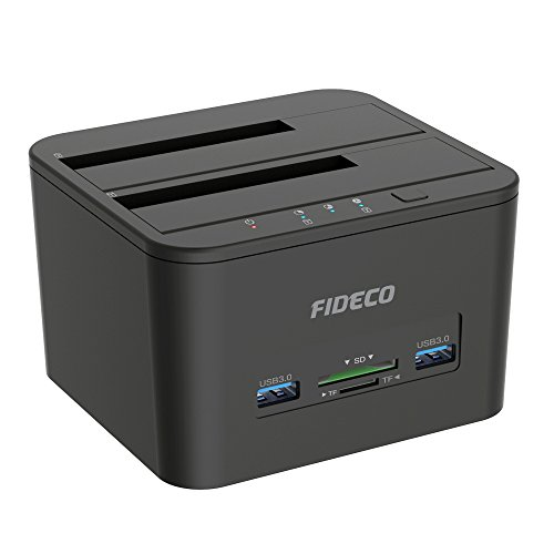 Hard Drive Docking Station, FIDECO USB 3.0 HDD Docking Station Dual-Bay External Hard Drives Dock with Offline Clone Function for 2.5''/3.5'' SATA HDD SSD, Support TF & SD Card (2x (2.5' Sata Notebook)