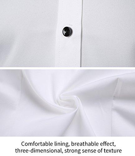 Men's Bamboo Fiber Dress Shirts Slim Fit Solid Long Sleeve Casual Button Down Shirts, Elastic Formal Shirts for Men,White Shirts, 15.5″Neck 33.5″Sleeve