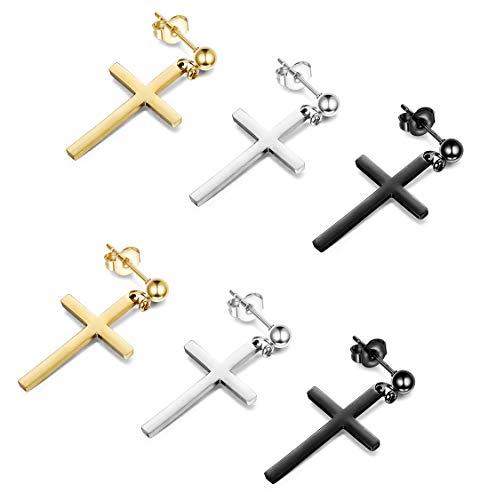 - Thunaraz 3 Pairs Stainless Steel Earrings Cross Dangle Studs Earrings Cross Earring Piercing Jewelry Set for Men Women