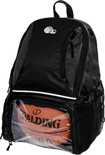 LISH Basketball Backpack - Large School Sports Bag w/Ball Compartment (Black)