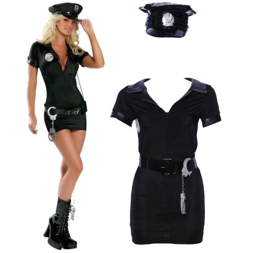 POLICE WOMAN COSTUME DONNA COP ufficiale uniforme FANCY DRESS Hen Party