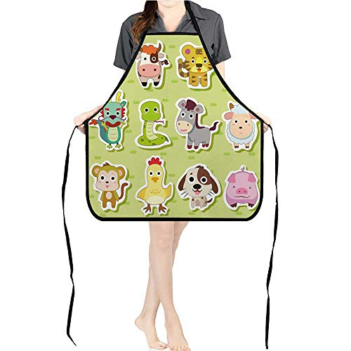 BBQ Apron Glossy imal Icons Part () for Delicious Barbecue Grill KitchenK26.6xG27.6xB10.2