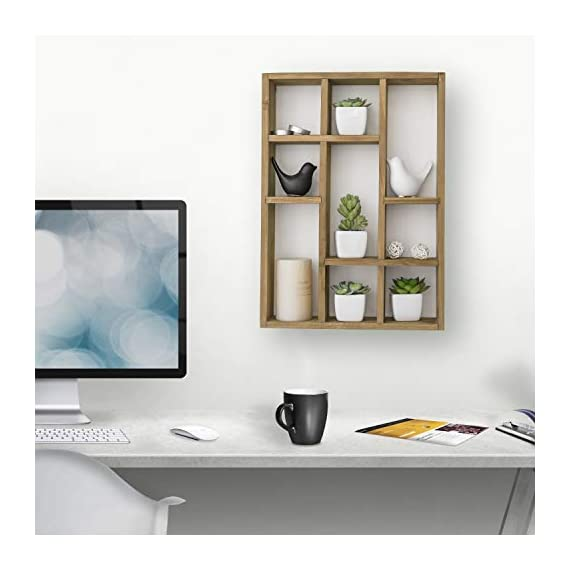 MyGift 15-Inch Wall-Mounted (Vertical or Horizontal) 9-Slot Rustic Wood Floating Shelves/Freestanding Shadow Box, Brown - A freestanding or wall-mounted shelf rack made of sturdy wood with a natural-style finish. Boasts 9 compartments in various shapes and sizes to allow for versatile display options and eye-catching style. Can be set on any counter top or attached to any wall either vertically or horizontally using the appropriate mounting hardware (not included). - wall-shelves, living-room-furniture, living-room - 41DF3SX7vTL. SS570  -