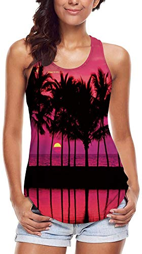 80s 90s Women Clothing 3D Printed Coconut Trees Tank Tops for Women Sunset Graphic Crew Neck Sleeveless Racerback Vest Gym Workout Undershirt M