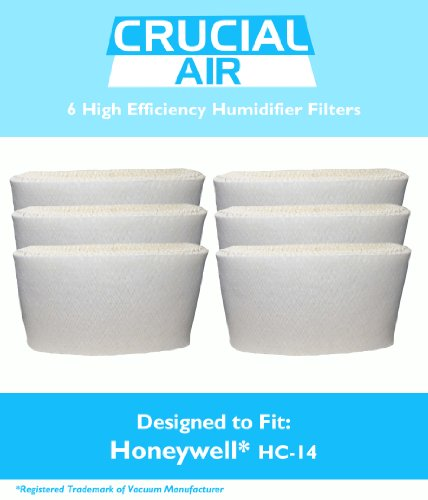6 Honeywell HC-14 Humidifier Filter, Fits Honeywell HCM3500, HM3600 & HCM-6000, Compare to Part HC-14, Designed & Engineered by Crucial Air