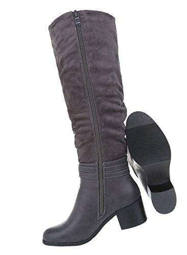 Stiefel Schuhe mit Grau Deko Damen P7qfBB