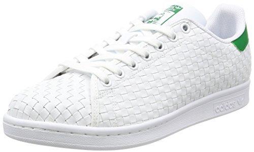 adidas Men's Originals Stan Smith Sneaker, White/White/Dark Blue, 9 M -